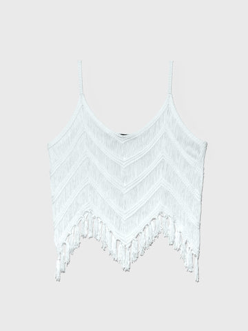 Samantha Fringe Hem Tank in White