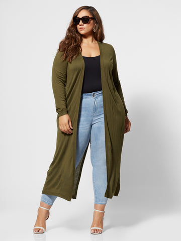 Xiomara Long Cardigan Sweater in Olive