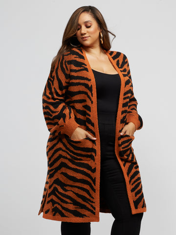 Zooey Long Tiger Cardigan Sweater in Rust