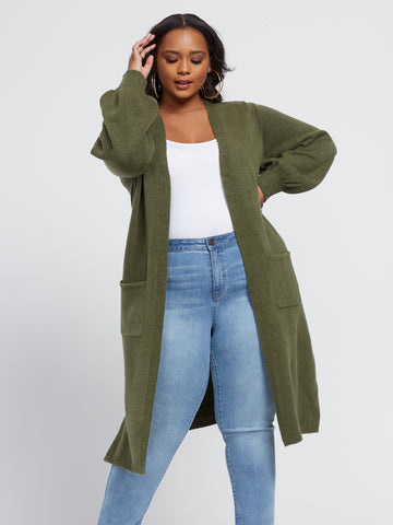 Marguerite Long Cardigan Sweater in Olive