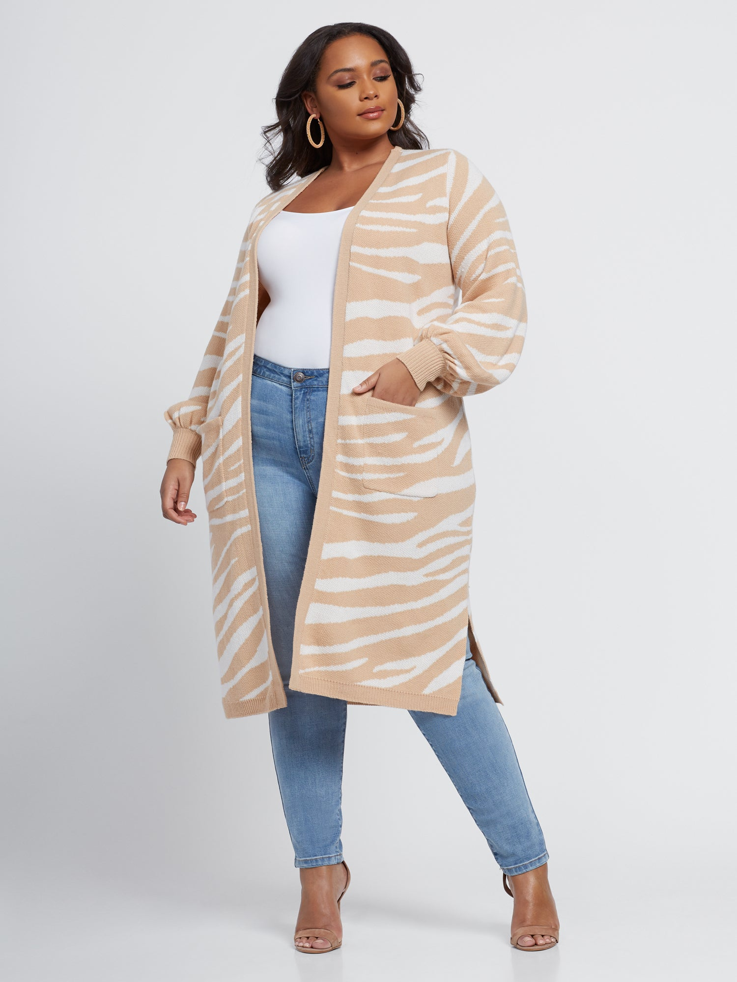 Abby Zebra Print Cardigan Sweater in Ivory