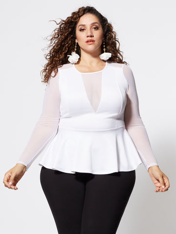 Maritza Mesh Detail Peplum Top in White