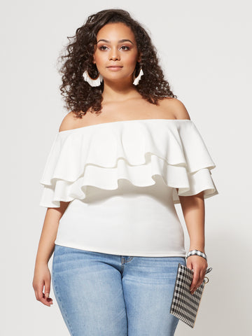 Marcella Ruffle Top in Ivory