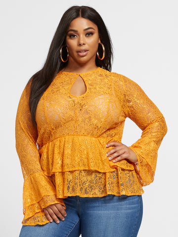 Coralie Lace Peplum Blouse in Mustard Yellow