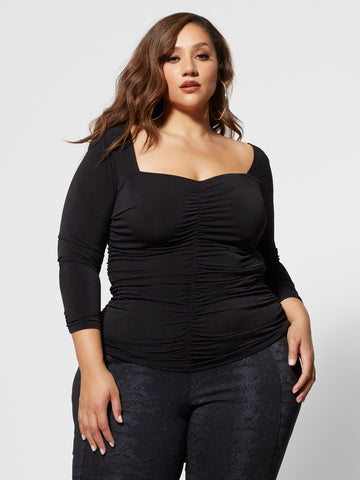 Anaise Fitted Ruched Top in Black