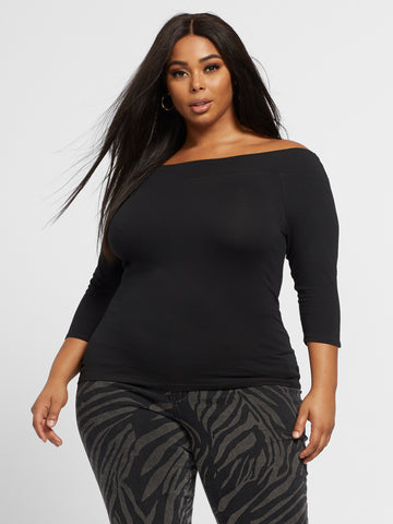 Annie Off Shoulder Tee in Black