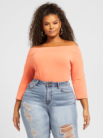 Annie Off Shoulder Tee in Island Coral