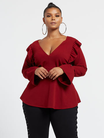 Vicky Flutter Sleeve Peplum Top in Dark Red