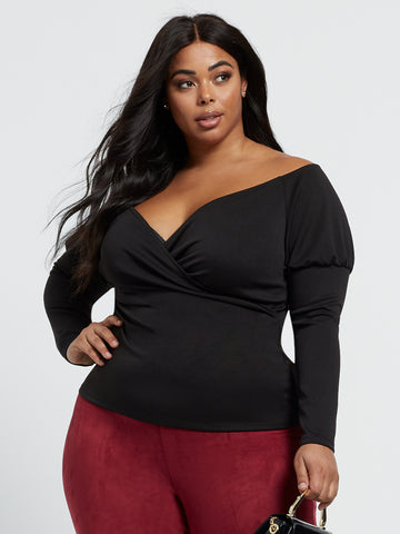 Salma Sweetheart Off Shoulder Top in Black