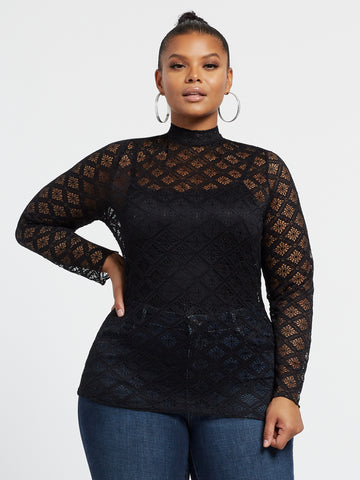 Jeanette Lace Mock Neck Top in Black