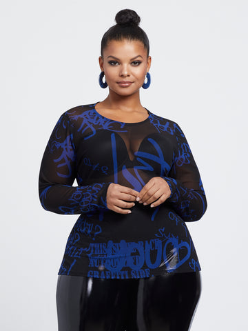 Andie Graffiti Mesh Top in Royal Blue