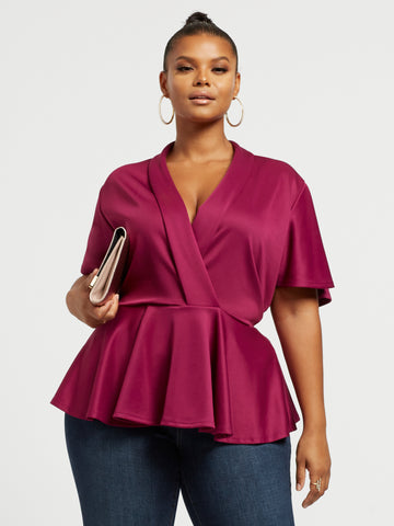 Brielle Bat Wing Peplum Top in Dark Pink