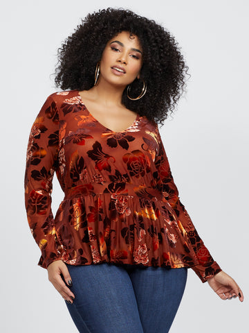 Bethanny Floral Velvet Peplum Top in Brown