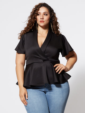 Signature - Sienna Peplum Top in Black