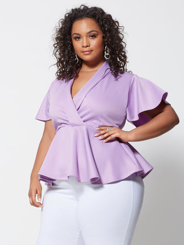 Signature - Sienna Peplum Top in Lavender