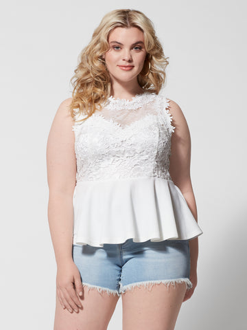 Amber Lace Peplum Top in White