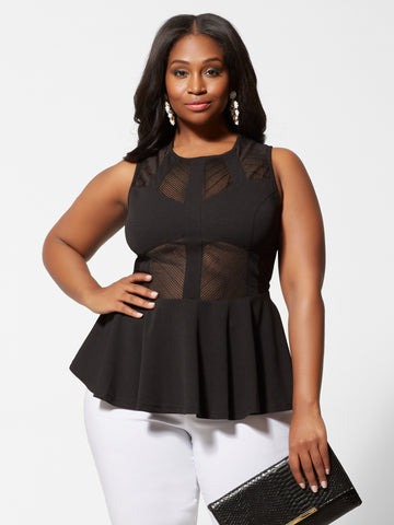 Eryna Mesh Panel Peplum Top in Black