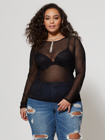 Evelyn Scoop Neck Top in Black