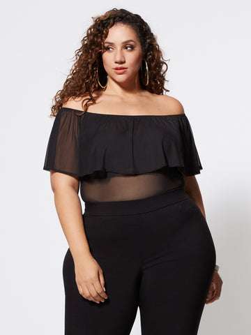 Avery Mesh Off Shoulder Ruffle Top in Black