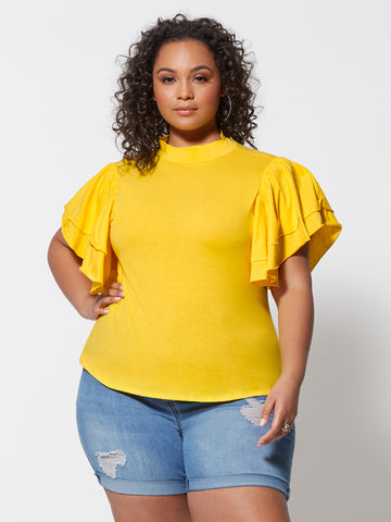 Breonna Mockneck Flutter Sleeve Tee in Yellow