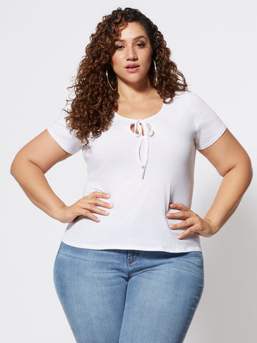 Keila Cut-Out Tie Neck Tee in White
