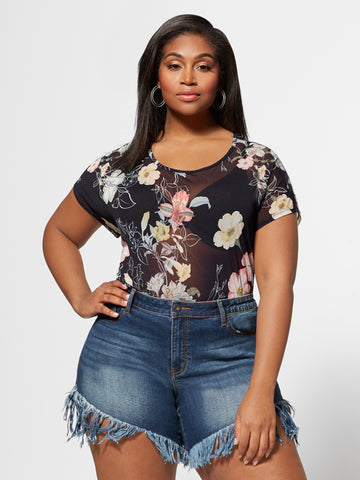 Dahlia Floral Mesh Top in Navy