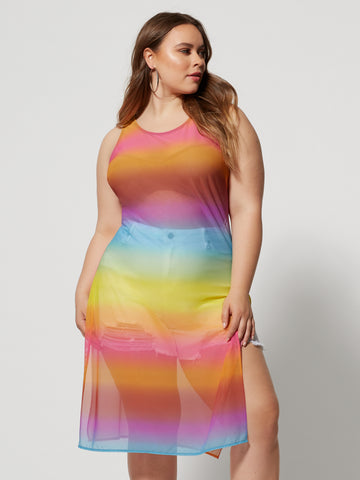 Summer Rainbow Mesh Tunic in Multi Color