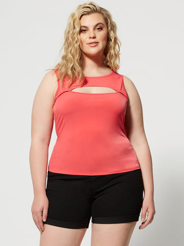 Kalista Cut-Out Top in Coral