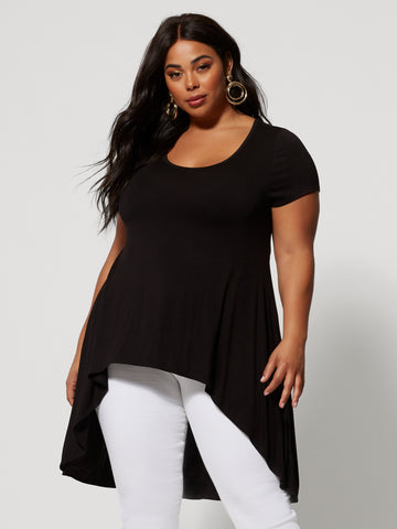 Katia Hi-Lo Tunic Top in Black