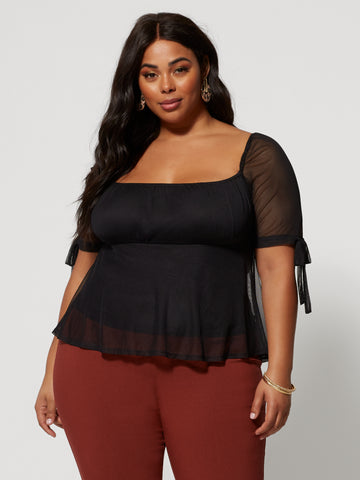 Rosario Tie Sleeve Mesh Top in Black