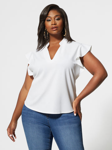 Aria V-Neck Ruffle Sleeve Top in Paper White