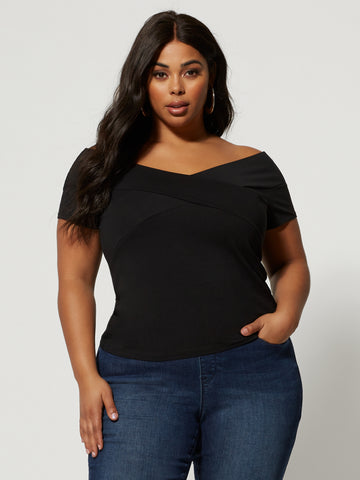 Dakota Cross-Front Off Shoulder Top in Black