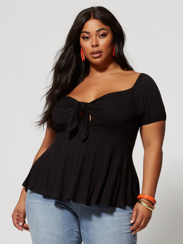 Saria Tie-Front Peplum Top in Black
