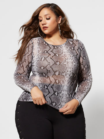 Isadora Snake Print Mesh Top in White