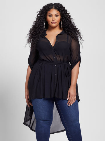 Nikita Belted Mesh Tunic in Black