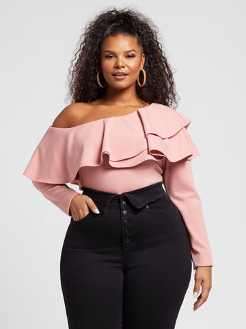 Rosa Double Ruffle Fitted Top in Blush