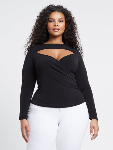 Azariah Cut Out Wrap Crop Top in Black