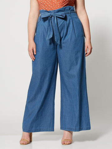 Georgette Wide Leg Chambray Pant in Indigo Blue Wash