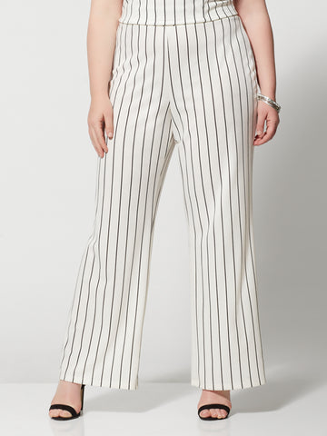 Lea Striped Flare Pants in White
