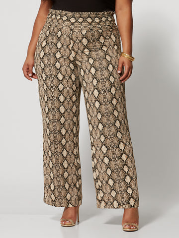 Rachelle Snake Print Wide Leg Pants in Black