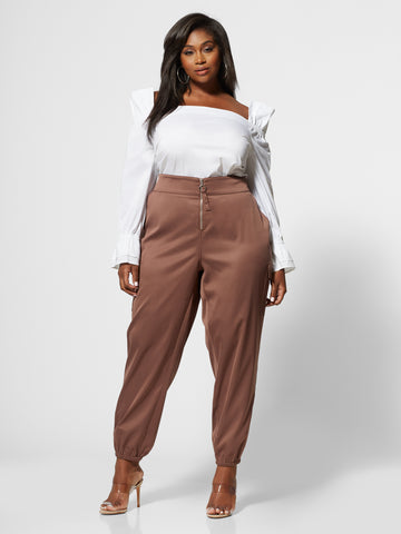 Johanna Silky Zip Jogger Pant in Brown