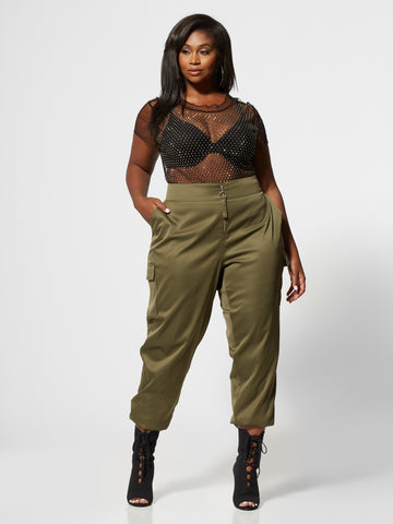 Katja Silky Zip Jogger Pant in Green