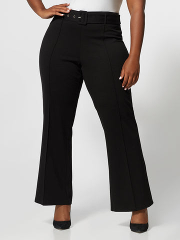 Naomi Covered Belt Flare Pant in Black