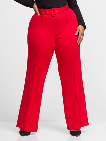 Delphine Covered Buckle Belt Flare Pant in Red