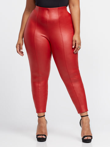 Scarlett Seam Front Faux-Leather Pants in Red