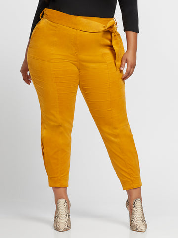 Soleil Belted Pleat Detail Pant in Gold Ochre