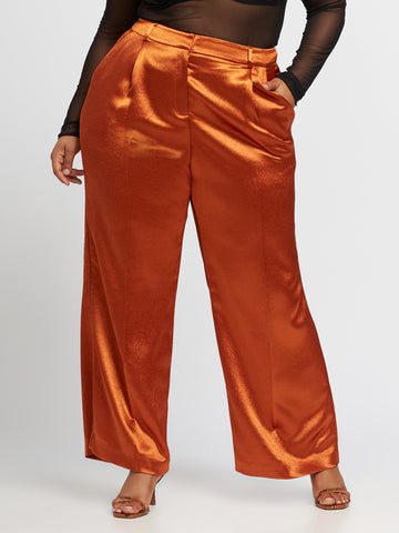 Denize Pleated Satin Pant in Bombay Brown