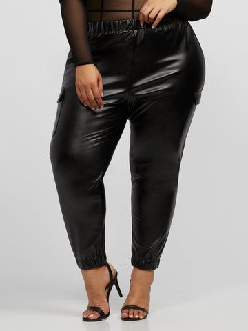 Augusta Faux-Leather Jogger Pant in Black