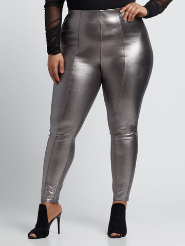 Metallic Faux-Leather Pants in Silver