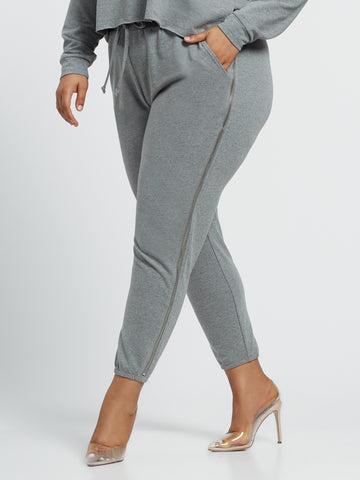 Kiki Zipper Jogger Sweatpants in Dark Grey